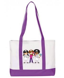 Große Leinwand Tasche Nurse Trio Purpur