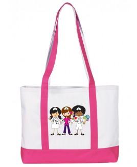Große Leinwand Tasche Nurse Trio Rosa